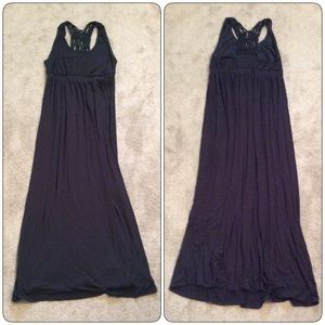 Black Macrame Back Maternity Maxi Dress